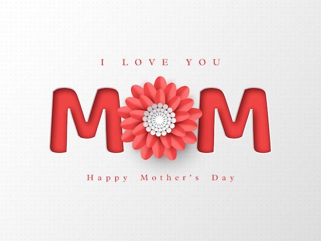Carte de voeux heureuse fête des mères. fleur coupée en papier avec des lettres 3d, fond de vacances en pointillé blanc.