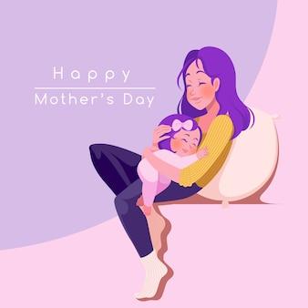 Carte de voeux heureuse fête des mères. jeune maman avec son enfant.