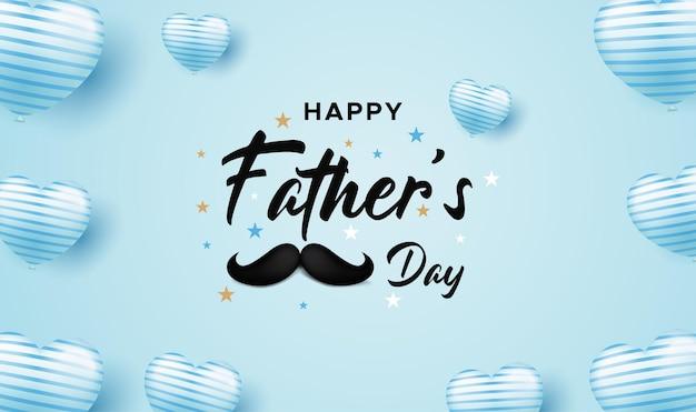 Carte de voeux heureuse de fête des pères avec un ballon d'amour et une moustache