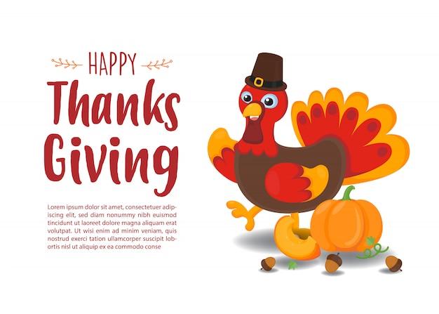 Carte de voeux heureuse merci donnant. turquie mignonne avec fond automne rouge.