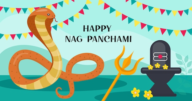Carte de voeux heureuse de nag panchami avec le cobra royal. festival du serpent en inde. illustration vectorielle.