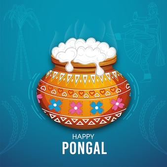 Carte de voeux heureuse de pongal pour la célébration du festival indien du sud