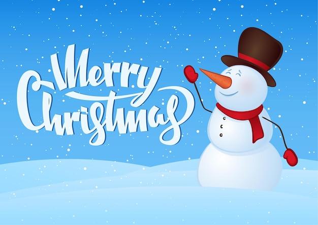 Carte de voeux d'hiver avec bonhomme de neige et lettrage à la main de joyeux noël.