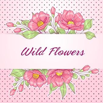 Carte de voeux horizontale rose avec des fleurs et des pois