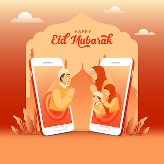 Carte de voeux id mubarak. père bénissant eid mubarak à sa famille à l'aide d'un appel vidéo sur téléphone portable. communication en ligne pendant la pandémie de covid-19