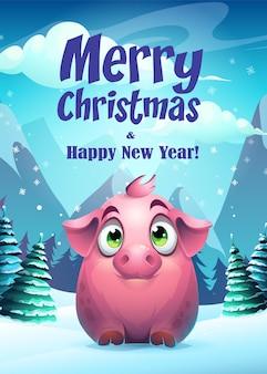 Carte de voeux illustration cochon joyeux noël