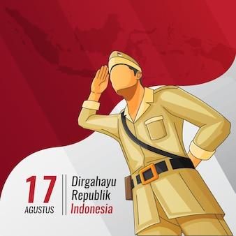 Carte De Voeux D'indépendance Indonésienne Avec Un Héros Faisant Un Stand De Salut Vecteur Premium