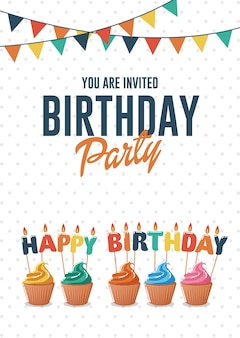 Carte de voeux et invitation d'anniversaire avec des cupcakes colorés