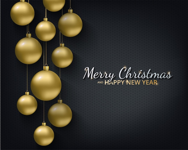 Carte de voeux, invitation avec bonne année et noël. boules de noël or métallique, décoration, confettis scintillants et brillants sur fond noir.