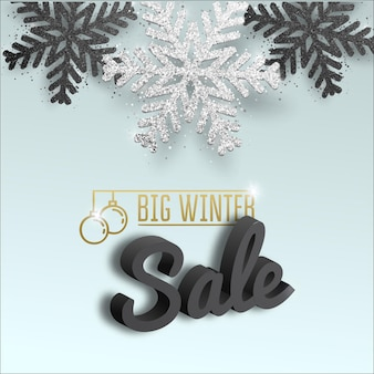 Carte de voeux, invitation avec bonne année et noël. flocon de neige de noël argenté métallique, confettis brillants.