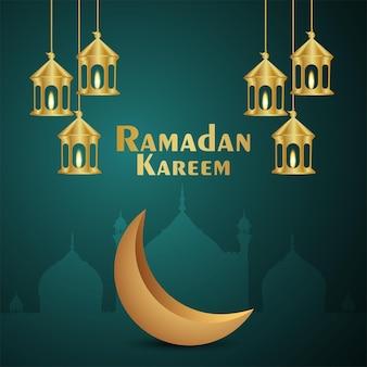 Carte de voeux d'invitation eid mubarak avec lanterne dorée créative et lune