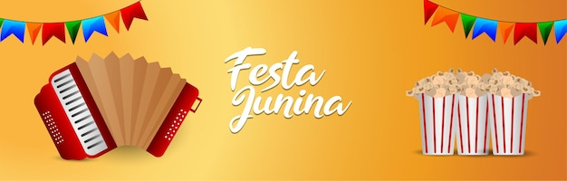 Carte de voeux d'invitation festa junina avec illustration vectorielle créative avec lanterne en papier et guitare