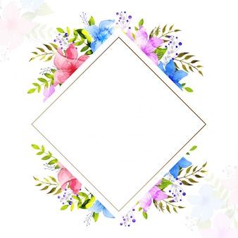 Carte de voeux ou invitation avec des fleurs d'aquarelle.