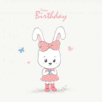 Carte de voeux et invitation joyeux anniversaire fille de dessin animé fille lapin