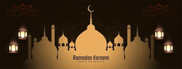 Carte de voeux islamique du festival ramadan kareem avec mosquée
