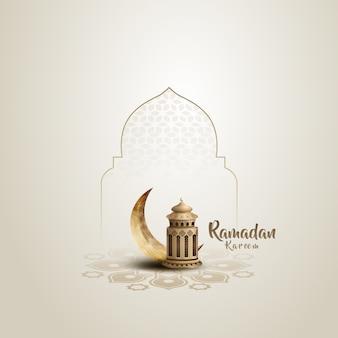 Carte de voeux islamique ramadan kareem avec belle lanterne dorée et croissant
