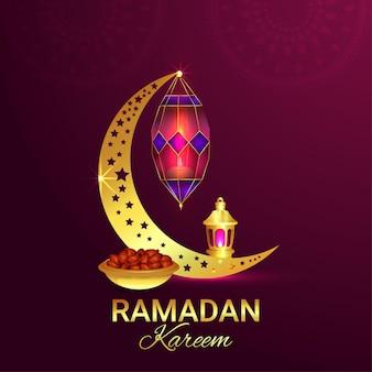 Carte de voeux islamique ramadan kareem fond