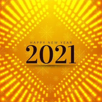 Carte de voeux jaune vif bonne année 2021