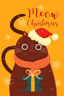 Carte de voeux avec un joli chat de noël.