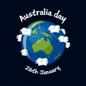 Carte de voeux de jour de l'australie, 26 janvier avec l'australie carte globe, nuages et texte. illustration vectorielle de dessin animé dans un style plat.