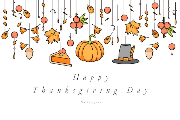Carte de voeux de jour de thanksgiving de conception linéaire. typographie et icône pour fond de vacances d'automne, bannières ou affiches et autres imprimables.