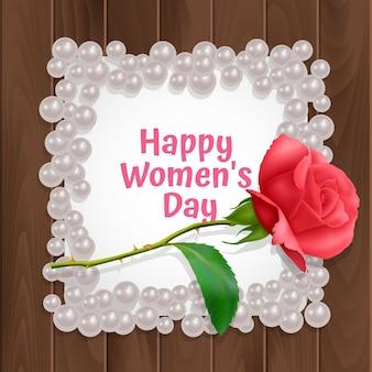 Carte de voeux de la journée de la femme, une carte avec un cadre de forme carrée et une rose réaliste