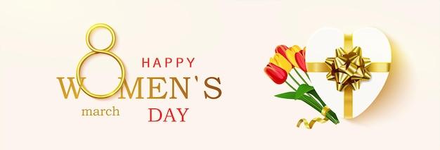 Carte de voeux de la journée de la femme, horizontale.