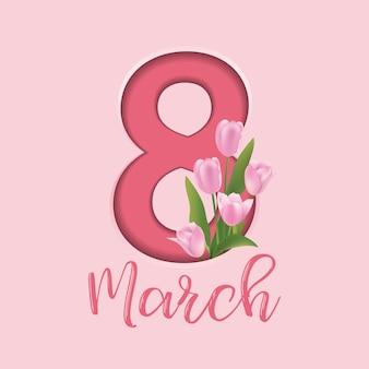 Carte de voeux de la journée internationale de la femme avec 8 décorations florales