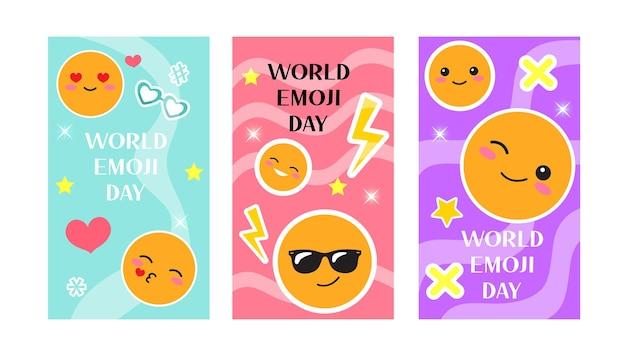 Carte de voeux de la journée mondiale des emoji, ensemble d'affiches avec des autocollants de sourire drôles. illustration vectorielle.