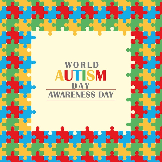Carte de voeux de la journée mondiale de sensibilisation à l'autisme avec cadre de puzzle