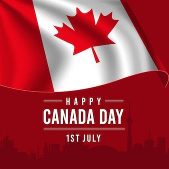 Carte de voeux joyeuse fête du canada avec drapeau ondulant sur fond rouge.