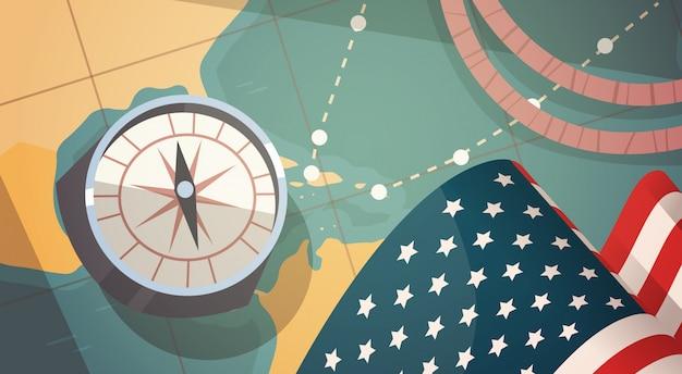 Carte de voeux joyeuse fête nationale des états-unis avec la boussole sur la carte du monde