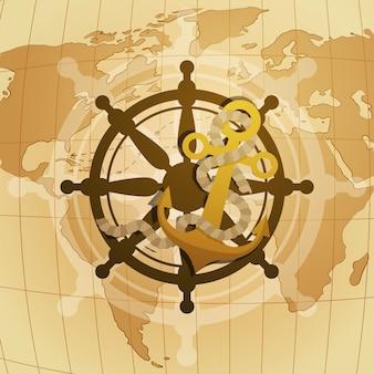 Carte de voeux joyeuse fête nationale des états-unis avec le volant et l'ancre sur la carte du monde