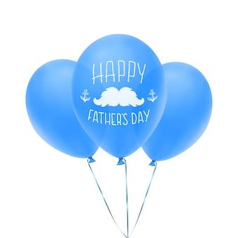 Carte de voeux joyeuse fête des pères avec des ballons bleus