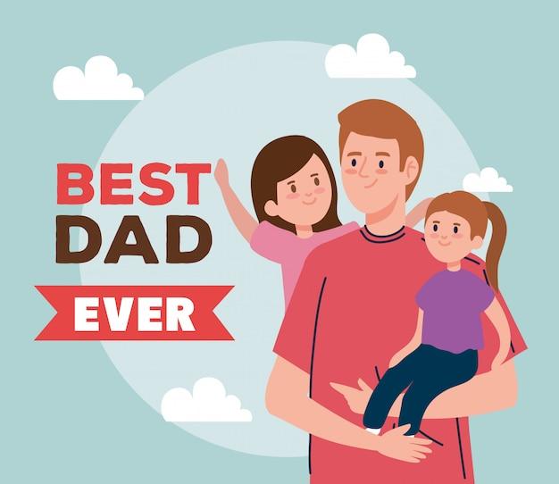 Carte de voeux joyeuse fête des pères avec papa et filles