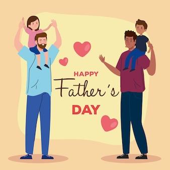 Carte de voeux joyeuse fête des pères avec papas et enfants