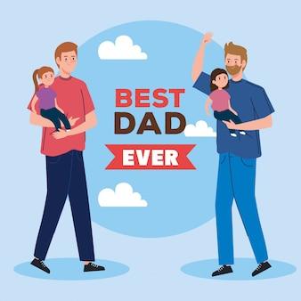 Carte de voeux joyeuse fête des pères avec papas et filles