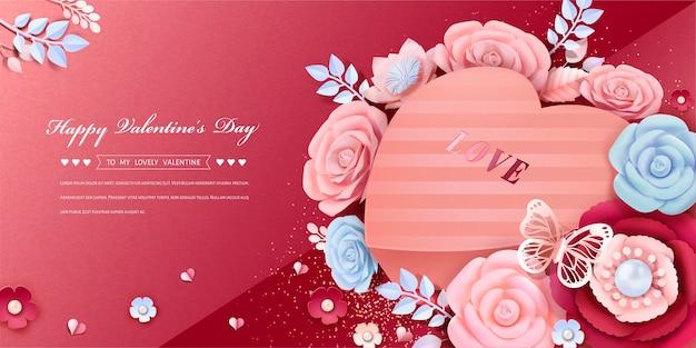 Carte de voeux joyeuse saint-valentin avec boîte-cadeau en forme de coeur design avec des décorations de fleurs en papier dans un style 3d