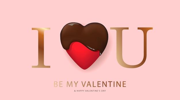 Carte de voeux joyeuse saint-valentin avec coeur en chocolat