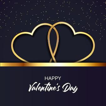 Carte de voeux joyeuse saint-valentin, coeurs dorés