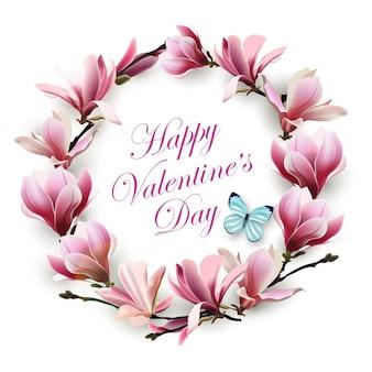 Carte de voeux joyeuse saint valentin avec une couronne de fleurs magnolia rose avec papillon bleu