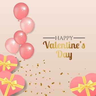 Carte de voeux joyeuse saint-valentin décorée de ballons réalistes