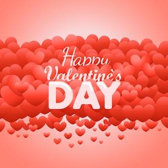 Carte de voeux joyeuse saint valentin. étiquette de vecteur de saint-valentin avec coeurs rouges