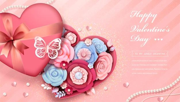 Carte de voeux joyeuse saint-valentin avec des fleurs en papier dans une boîte cadeau en forme de coeur, illustration 3d