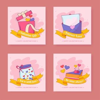 Carte de voeux joyeuse saint-valentin ou poteaux avec boîte-cadeau, lettre d'amour, pot, pâtisserie sur fond rose.