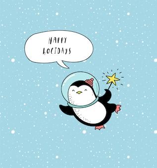 Carte de voeux joyeuses fêtes avec pingouin astronaute dans l'espace