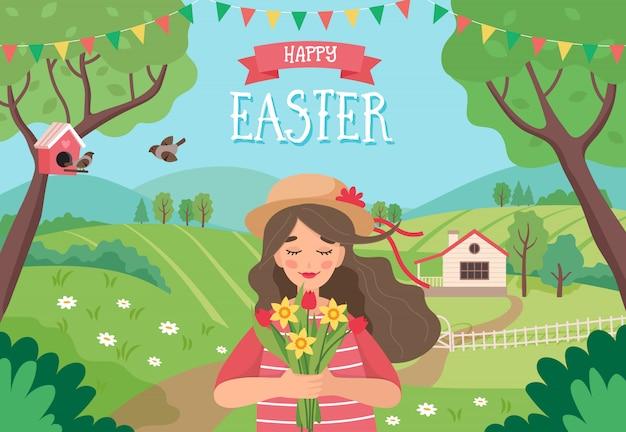Carte de voeux de joyeuses pâques, fille tenant des fleurs, avec paysage de printemps.