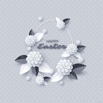 Carte de voeux joyeuses pâques. fleurs coupées en papier avec cadre scintillant.