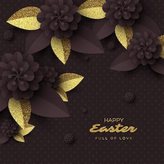 Carte de voeux joyeuses pâques. fleurs coupées en papier avec des feuilles de paillettes dorées.
