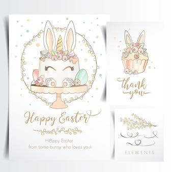 Carte de voeux joyeuses pâques avec un gâteau mignon de lapin de pâques